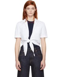 Carven - White Tie Front Blouse - Lyst