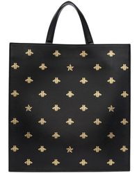 Gucci - Black Leather Bees Tote - Lyst