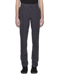 Acne Studios - Navy Linen Check Boston Trousers - Lyst