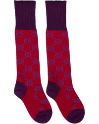 Gucci - Red And Purple GG Supreme Long Socks - Lyst