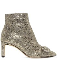 Jimmy Choo - Silver Glitter Hanover 65 Boots - Lyst