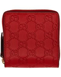 Gucci - Red Linea A Zip Wallet - Lyst