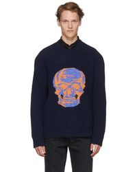 Alexander McQueen - Navy And Black Skull Intarsia Sweater - Lyst