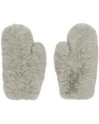 Yves Salomon - Grey Fur Handwarmer Gloves - Lyst