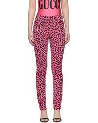 Gucci - Pink Leopard Jeans - Lyst