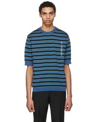 Givenchy | Blue Short Sleeve Striped Logo Sweater | Lyst
