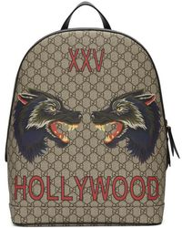Gucci - Beige Gg Supreme Logo Backpack - Lyst