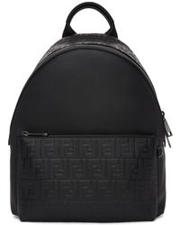 Fendi - Black Embossed Forever Backpack - Lyst