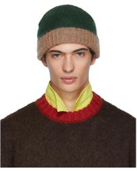 6ab232eedec Lyst - Marni Striped Wool Knit Beanie Hat in Natural for Men