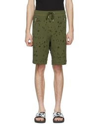 DIESEL - Khaki Bir Distressed Lounge Shorts - Lyst