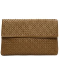 Bottega Veneta - Brown Intrecciato Flap Pouch - Lyst