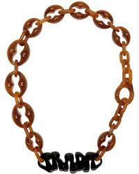 Prada - Brown Logo Chunky Necklace - Lyst