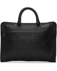 Bottega Veneta - Black Intrecciato Classic Briefcase - Lyst