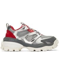 Juun.J Silver And Red Treaded Low-top Sneakers - Gray