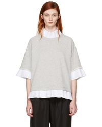 MM6 by Maison Martin Margiela - Grey Mock Layered Sweatshirt - Lyst