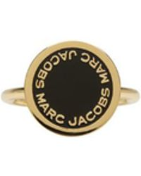 Marc Jacobs - Gold Enamel Logo Disc Ring - Lyst