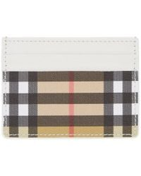 Burberry - White And Beige Sandon Card Holder - Lyst