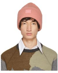 Acne Studios - Pink Pansy N Face Beanie - Lyst