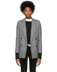Stella McCartney - Navy And White Houndstooth Wool Coat - Lyst