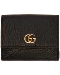 Gucci - Black Medium Gg Marmont Trifold Wallet - Lyst
