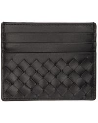 Bottega Veneta - Black Intrecciato Card Holder - Lyst