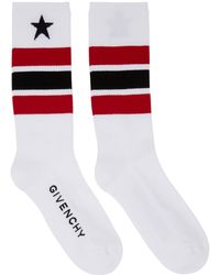 Givenchy | White And Red Stripes And Star Socks | Lyst