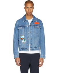 KENZO - Blue Denim Badges Jacket - Lyst