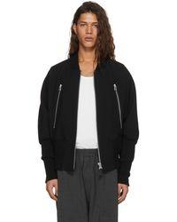Issey Miyake   Black Wool Double Zip Bomber Jacket   Lyst