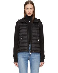 Moncler - Black Down & Jersey Jacket - Lyst