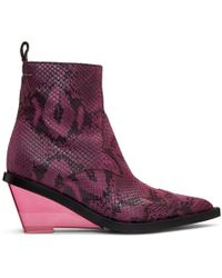 MM6 by Maison Martin Margiela - Pink Faux-python Wedge Boots - Lyst