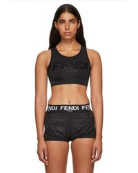 Fendi - Black Neoprene Logo Bra - Lyst