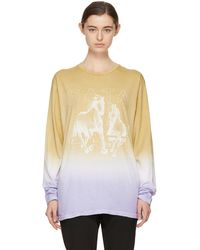 Baja East   Tan And Purple Long Sleeve Freedom T-shirt   Lyst