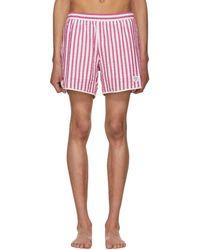 Noah - Red And White Stripe Seersucker Running Shorts - Lyst