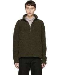 A.P.C. - Khaki Beaver Zip-up Sweater - Lyst