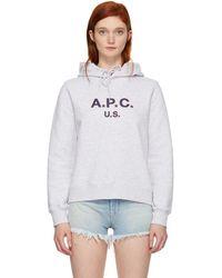 A.P.C. - Grey Us Logo Hoodie - Lyst