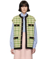 1a123e3effd3a Gucci - Houndstooth Sleeveless Vest With Ribbon Trim - Lyst