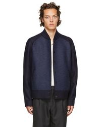 Harris Wharf London - Navy Raglan Bomber Jacket - Lyst