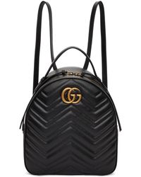 Gucci - Black Gg Marmont Quilted Chevron Backpack - Lyst