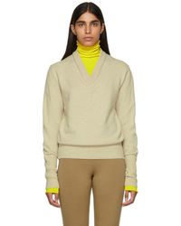 JOSEPH - Beige And Yellow Double Knit V-neck Jumper - Lyst