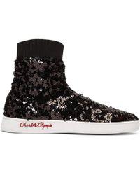Charlotte Olympia - Black Sequin Sock Sneakers - Lyst