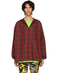 Balenciaga - Red Hooded Plaid Shirt - Lyst