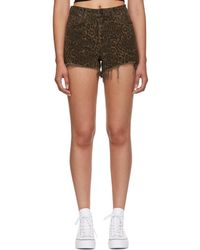 Alexander Wang - Tan Leopard Denim Bite Shorts - Lyst