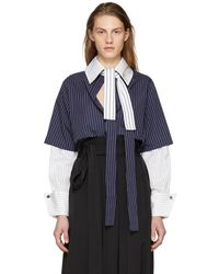JW Anderson - Navy And White Double Layer Shirt - Lyst