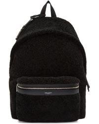 Saint Laurent - Black Shearling City Backpack - Lyst