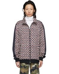 Valentino - Navy Scale Zip-up Sweater - Lyst