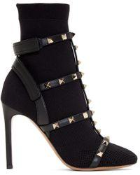 Valentino - Black Garavani Rockstud Boots - Lyst