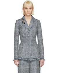 Erdem - Blue And White Jacey Single-breasted Blazer - Lyst