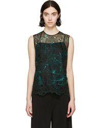 Erdem - Green Organza Embroidered Naomi Top - Lyst