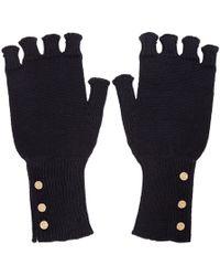 Thom Browne - Navy Wool Fingerless Gloves - Lyst