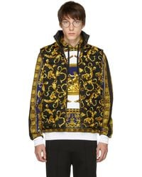 Versace - Black And Gold Down Brocade Puffer Vest - Lyst